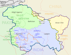 Jammu (orange bordered) lies in Indian state Jammu & Kashmir