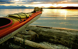 A kayak and a sunset on Valdes Island.