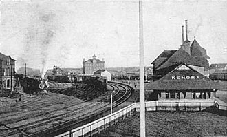 Kenora railway station - View of the station, circa 1906