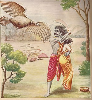 Jatayu - Killing of Jatayu Bird Painting by Balasaheb Pant Pratinidhi