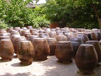 Gochujang - Traditional jars used for fermenting gochujang