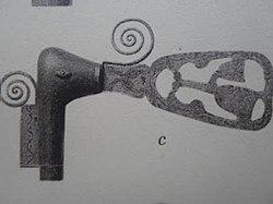 Fotografi av håndtaket på kong Akabas verdighetstegn, septeret