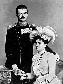 King Alexander I Obrenović of Serbia and Queen Draga, ca. 1900.jpg