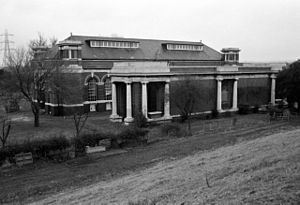 King George V Reservoir -  The pumping station, seen in 1985