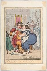 Desenho animado de um George gordo e acariciando uma Lady Conyngham obesa