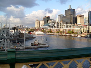 King Street Wharf - View from Pyrmont Bridge in December 2011