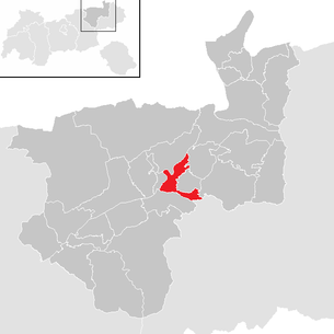 Location of the municipality of Kirchbichl in the Kufstein district (clickable map)