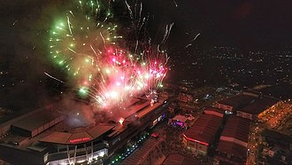 Kluang (town) - Fireworks illuminate the downtown Kluang skyline during the fourth annual GET UP! Kluang.