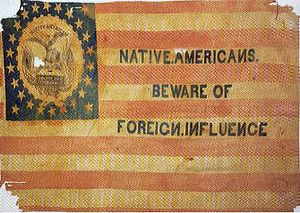 American ancestry -  Flag of the  Know Nothing or American Party, c. 1850