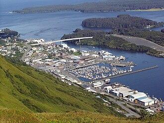 Kodiak, Alaska - View of Kodiak from Pillar Mountain.  At center, from top to bottom: the Near Island Bridge, downtown and the small boat harbor.