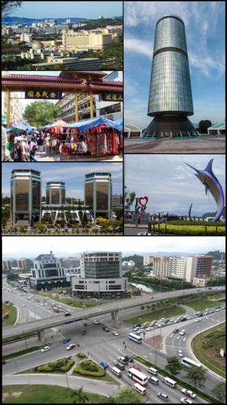Kota Kinabalu - From top right clockwise: Tun Mustapha Tower, Swordfish Statue, Wawasan intersection, Wisma Tun Fuad Stephens, Gaya Street and 1Borneo Mall.