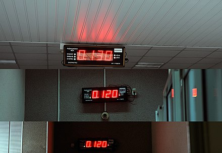 Displays showing ambient radiation fields of 0.120-0.130 mSv/h (1.05-1.14 mSv/a) in a nuclear power plant. This reading includes natural background from cosmic and terrestrial sources. Kozloduy Nuclear Power Plant - Background radiation displays.jpg