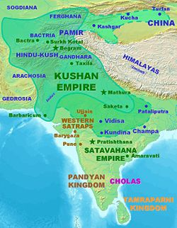 Kushan territories (full line) an maximum extent o Kushan dominions unner Kanishka the Great (dottit line), accordin tae the Rabatak inscription.[1]