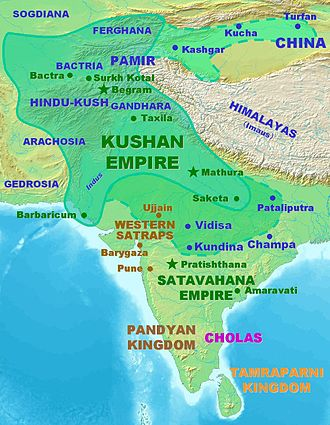 Kushan Empire - Kushan territories (full line) and maximum extent of Kushan dominions under Kanishka the Great (dotted line), according to the Rabatak inscription.