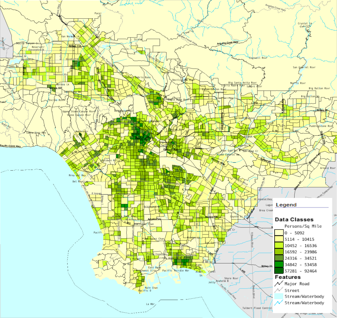 FileLACountyPopDensitypng Wikimedia Commons - Los angeles map districts