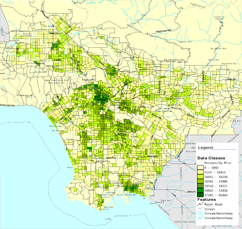 Elevation Map Los Angeles ca Map of Los Angeles County