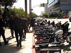 Los Angeles Police Department resources - LAPD motorcycles parked outside the Olympic Division.