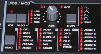Low-frequency oscillation - LFO section of a modern synthesizer