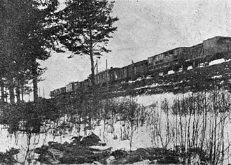 Tapa, Estonia - Armored Train No 1 near Tapa on 9 January 1919. Fallen soldiers of the Red Army on the foreground.