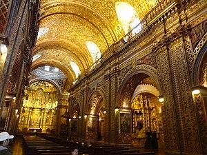 Religion in Ecuador - Gold leaf interior of the Church of the Society of Jesus, also referred to as - La Compañía - (Historic Center of Quito)