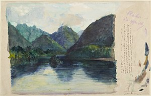 Tautira - John La Farge, Study of Afterglow from Nature (Tahiti: Entrance to Tautira Valley), 1891, Princeton University Art Museum
