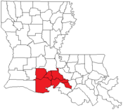 Map of Louisiana highlighting the Lafayette metropolitan area