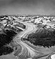 Lake Clark Pass Glacier, terminus of valley glacier, trimline on valley walls, and dark lateral moraines, August 25, 1963 (GLACIERS 6422).jpg