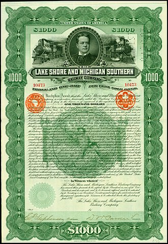Lake Shore and Michigan Southern Railway - Gold Bond of the Lake Shore and Michigan Southern Railway Company, issued 1. June 1897