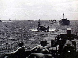 Battle of Morotai - A long line of Allied landing craft and transports approaching Morotai