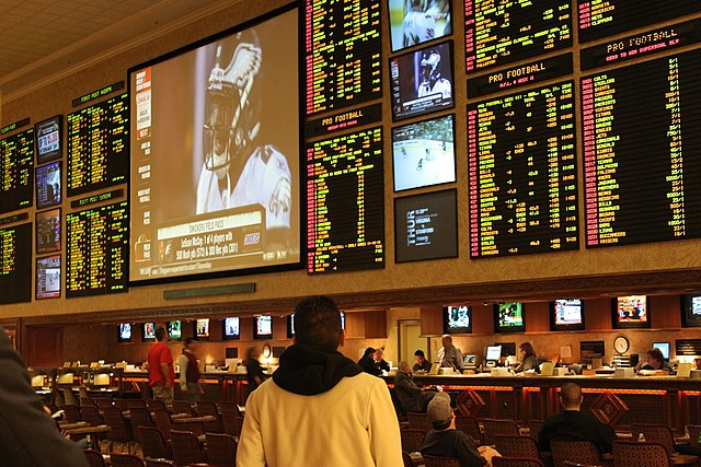 Las Vegas sportsbook, by wikipedia user Baishampayan Ghos, licensed by Creative Commons