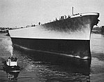 Launch of USS Sicily (CVE-118) at Todd Pacific Shipyards on 14 April 1945.jpg