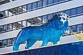 León con el logotipo de O2, Riesstr., Múnich, Alemania 2012-04-28, DD 01.JPG