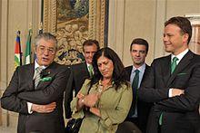 Umberto Bossi, Roberto Calderoli, Rosy Mauro, Roberto Cota e Federico Bricolo al Quirinale.