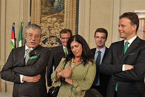 Umberto Bossi - Umberto Bossi (on the left) with Roberto Calderoli, Rosy Mauro, Roberto Cota and Federico Bricolo.