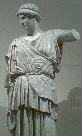 Aegis - The aegis on the Lemnian Athena of Phidias, represented by a cast at the Pushkin Museum