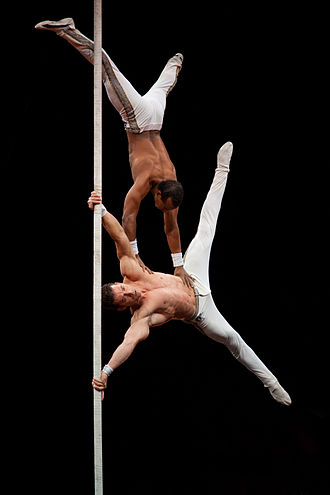 Chinese pole - Cuban acrobatic artists Leosvel and Diosmani on the Chinese pole.
