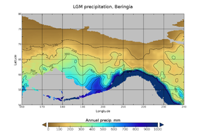 Map showing higher rainfall across southern coastal Beringia than in the north