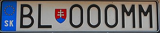 Vehicle registration plates of Slovakia - Personalized plate