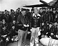 Lieutenant Colonel James H. Doolittle and Captain Marc A. Mitscher with USAAF aircrews aboard USS Hornet (CV-8), in April 1942 (NH 64472).jpg