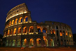 A view of the Colosseum at night.