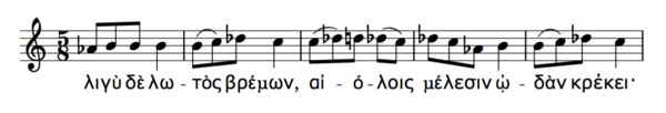 A line from the 1st Delphic Hymn showing the pronunciation of the grave accent.