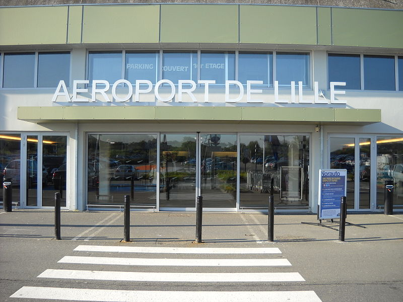 Outside the terminal of the Lille-Lesquin International Airport, in Lesquin, Nord, France.