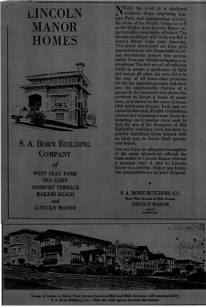 Lincoln Manor (San Francisco) - An early advertisement for Lincoln Manor homes.  Top photo shows the residence of Stephen A. Borne, Lincoln Manor developer, and the bottom photo shows the houses at the corner of 38th and Shore View Avenue.  This tri-fold advertisement has been modified to view on one page.