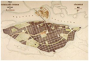 Albert Lindhagen - Lindhagen's 1886 city plan for southern central Stockholm.