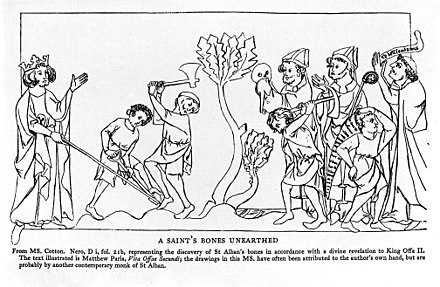 The discovery of St. Alban's bones, illustrated in The Life of St. Alban Line illustration of a Saint's bones unearthed. Wellcome M0007956.jpg