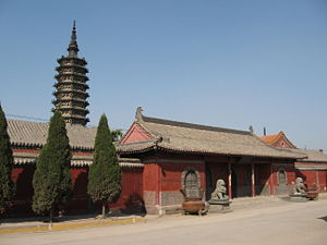 Zhengding County - Chengling Pagoda (background) and the Linji Temple (foreground)