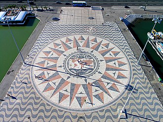The Amazing Race 23 - One of the Detour options in Lisbon had teams measuring the distance traveled by Ferdinand Magellan on the compass rose at Padrão dos Descobrimentos.