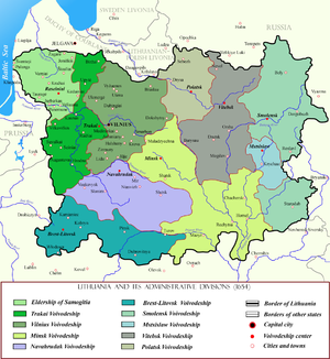 Administrative divisions of Lithuania - Map of the Grand Duchy of Lithuania and its administrative divisions in the 17th century