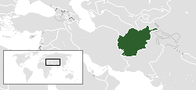 A map showing the location of Afghanistan
