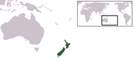 A map showing the location of New Zealand